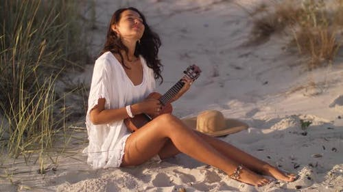 Woman with Ukulele Beach Summer Holiday Vacation