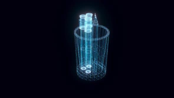 Pencil Case Hologram Rotating 4k