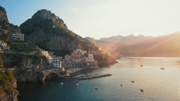 Yaht in Atrani Aerial By Dawn, Amalfi Coast