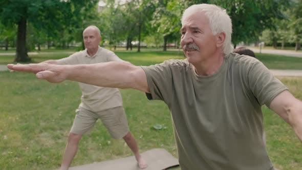 Aged Sporty Man and Women Having Outdoor Yoga Training