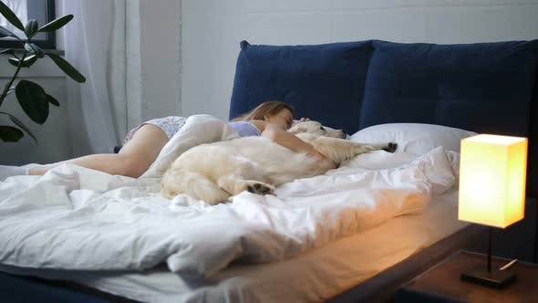 Thumbnail for Woman and Her Best Friend Pet Dog Sleeping in Bed