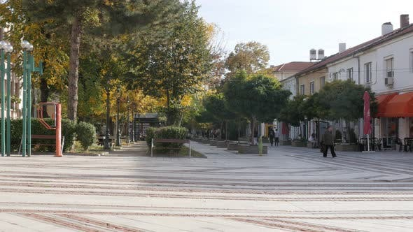 VIDIN, BULGARIA - OCTOBER 10, 2017 People walking on pedestrian zone in Bulgarian city