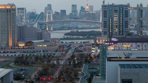 Tokyo Cityscape with Traffic at Twilight Timelapse