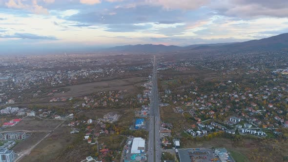 Top View of Scenic, Beautiful Clouds Above City Entrance Road in Sofia, Bulgaria