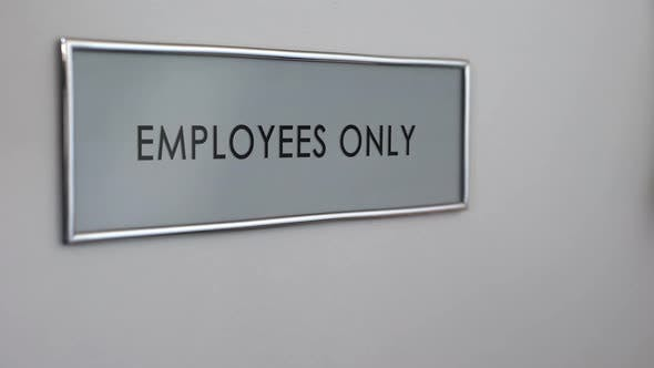 Thumbnail for Employees Only Room Door, Hand Knocking Closeup, Entrance Restriction, Workplace