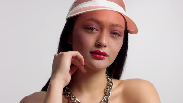 Thumbnail for Mixed Race Asian Model in Studio Creative Art Makeup