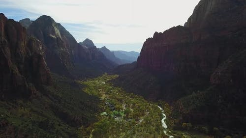 Cinematic Aerial View of the Beautiful Zion National Park Utah USA