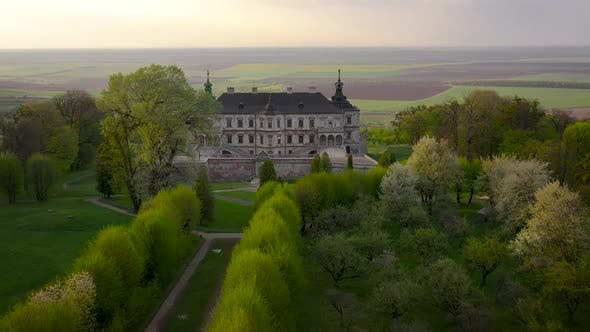 Aerial View of Pidhirtsi Castle Ukraine