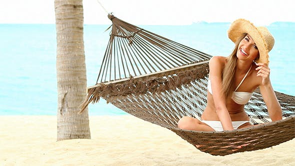 Thumbnail for Happy Woman on Hammock at Exotic Beach
