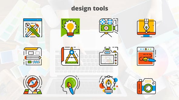 Thumbnail for Design Tools - Flat Animated Icons