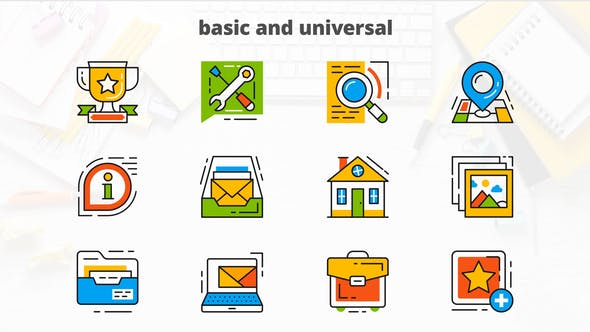 Thumbnail for Basic and Universal - Flat Animated Icons