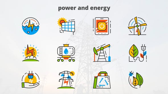 Thumbnail for Power and Energy - Flat Animated Icons