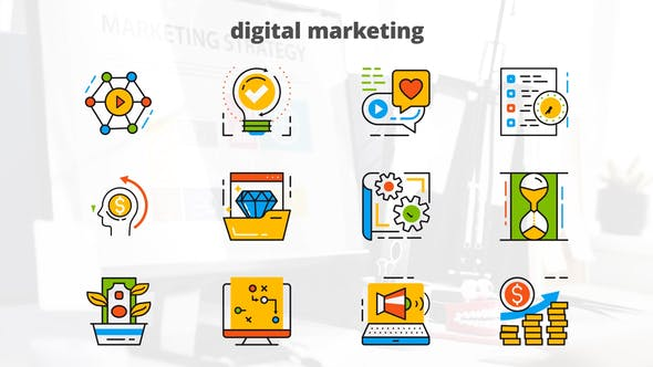 Thumbnail for Digital Marketing - Flat Animated Icons