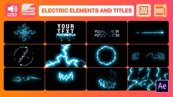 Thumbnail for Cartoon Electricity And Titles | After Effects