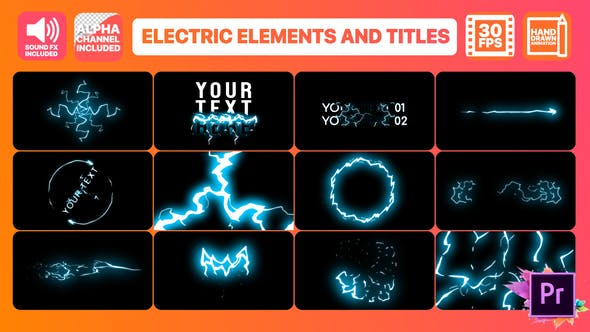 Thumbnail for Cartoon Electricity And Titles | Premiere Pro MOGRT
