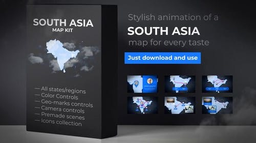 Map of South Asia with Countries - Southern Asia Map Kit
