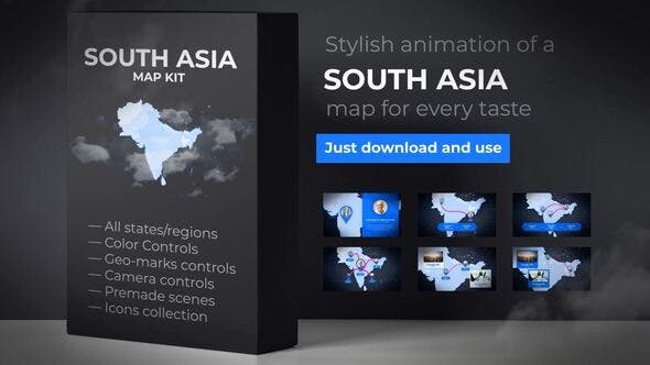Thumbnail for Map of South Asia with Countries - Southern Asia Map Kit