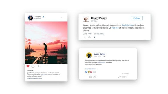 Thumbnail for Facebook Twitter Instagram - Animated Posts