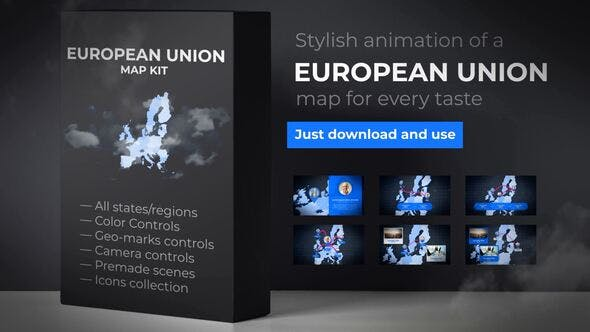 Thumbnail for Map of European Union with Member States - European Union EU Map Kit