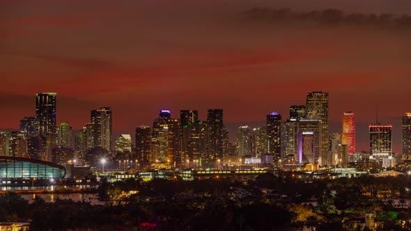 Time lapse of the Miami Florida skyline shot from Miami Beach