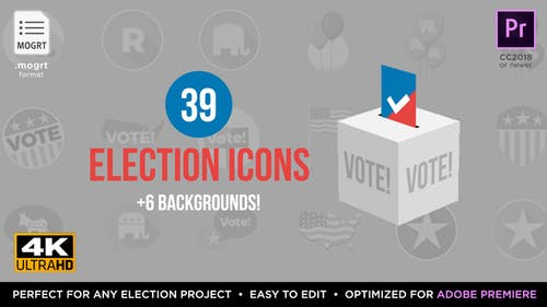 Flat USA Election Icons   MOGRT for Premiere Pro