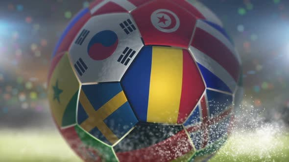 Romania Flag on a Soccer Ball - Football in Stadium