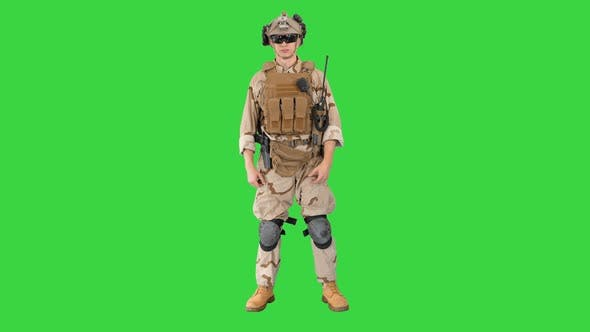 Thumbnail for Soldier Standing Listening and Nodding on a Green Screen Chroma Key