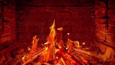 Fireplace Christmas tree at home for Christmas