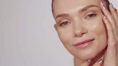 Facial Care Skin Treatment Woman Touching Face