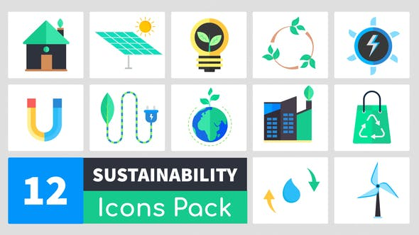 Thumbnail for Animated Sustainability Icons Pack