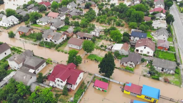Thumbnail for Environmental Disaster and Climate Change. Aerial View River That Flooded the City and Houses
