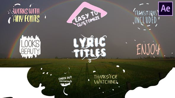 Thumbnail for Cartoon Lyric Titles | After Effects