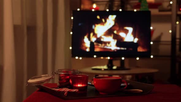 Thumbnail for Christmas Treats and Drink on Table at Cozy Home