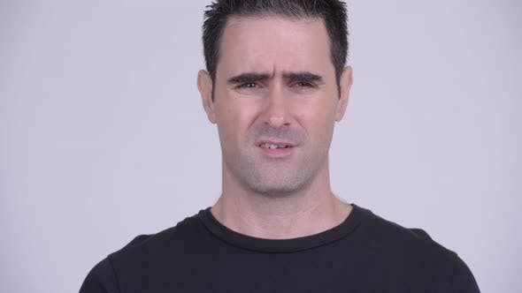 Thumbnail for Face of Stressed Man Looking Frustrated and Bored Against White Background