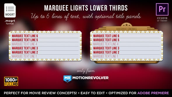 Thumbnail for Marquee Lights Titles & Lower Thirds | MOGRT for Premiere Pro
