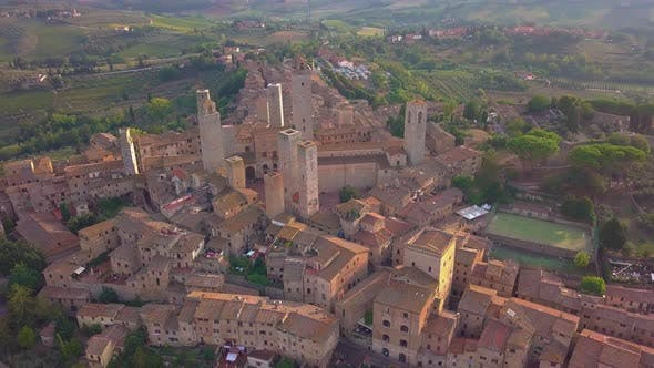 Thumbnail for Drone Aerial Footage of the Wonderful Village of San Gimignano. A Unesco World Heritage