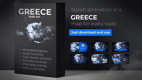 Thumbnail for Greece Map - Hellenic Republic Map Kit - Hellas Animation