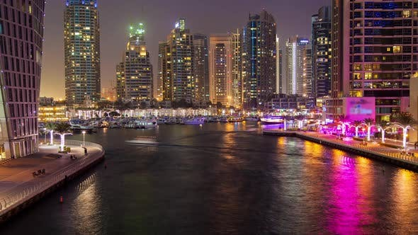 Thumbnail for Ferries in Dubai Marina Night Timelapse
