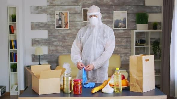 Volunteer in Protective Suit
