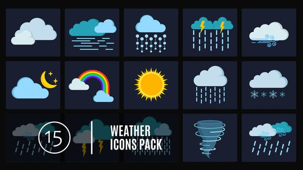 Thumbnail for 15 Weather Icons Pack