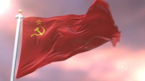 Soviet Union Flag at Sunset