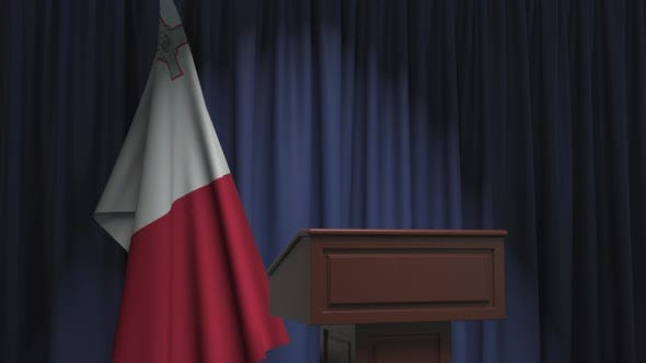 Thumbnail for National Flag of Malta and Speaker Podium Tribune