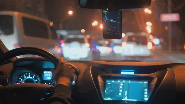 Taxi Driver Night City Streets Smartphone Navigation