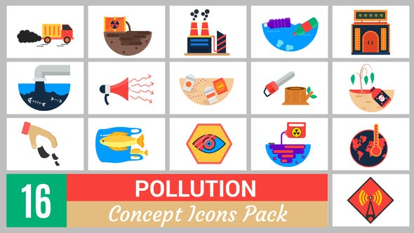 Thumbnail for 16 Pollution Concept Icons Pack