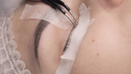 Cover Image for Lash Maker Performing Eyelash Extension Procedure for Young Woman.