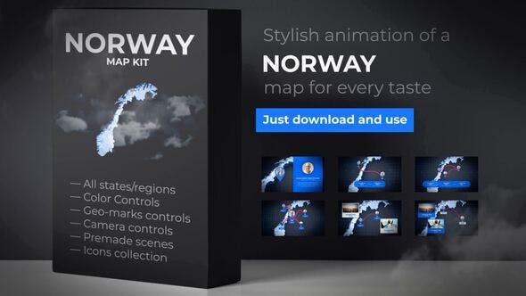 Thumbnail for Norwegen Karte - Königreich Norwegen Map Kit
