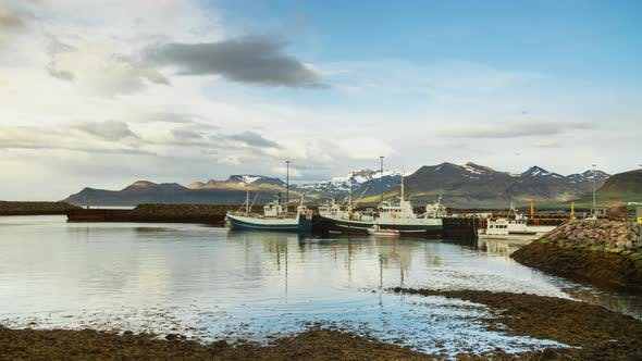Thumbnail for Icelandic Harbor With Fishing And Whale Watching Boats And Little Ships And Snow Mountains
