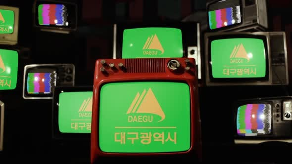 Flag of Daegu, South Korea, on Retro TVs.