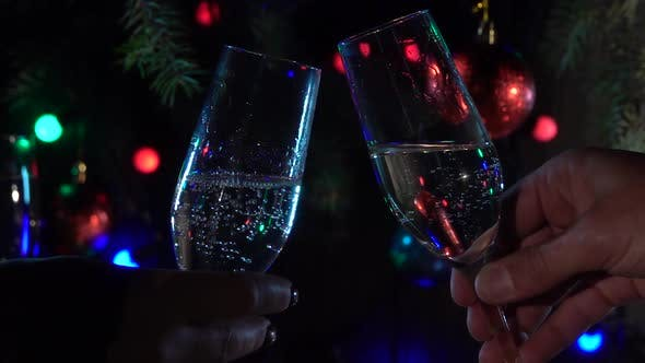 Thumbnail for Celebration with Two Clinking Champagne Glasses