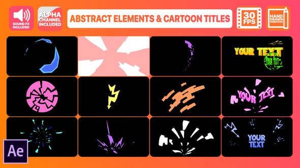 Thumbnail for Abstract Shapes And Cartoon Titles | After Effects